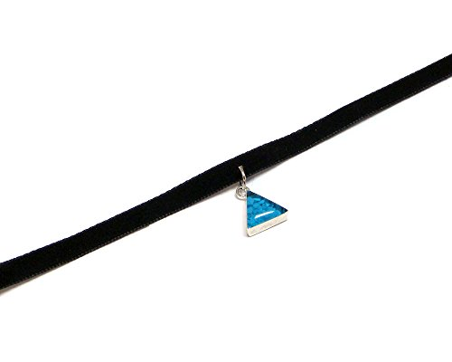 Inlay Pendant Choker (Turquoise) (Triangle Turquoise Inlay)