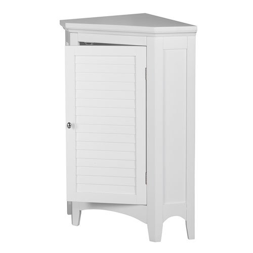 Amazon Com Elegant Home Fashions Slone 1 Door Corner Floor Cabinet In White Home Improvement