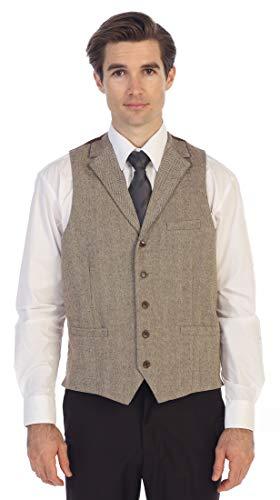 Gioberti Men's 5 Button Tailored Collar Slim Fit Formal Herringbone Tweed Suit Vest, Tan Herringbone, Small