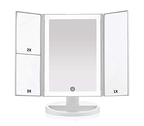 Newest 36 LED Nature Daylight Tri-Fold Lighted Vanity Makeup Mirror with Touch Screen Dimming and 3X/2X/1X Magnification Mirror, 180 Degree free Rotation, Countertop Cosmetic Mirror