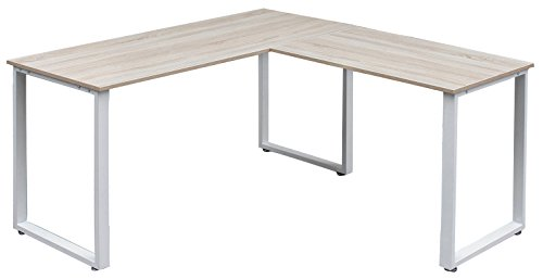 Corner L-shaped Office Desk (Merax L-Shaped Office Workstation Computer Desk Corner Desk Home Office Wood Laptop Table Study Desk (Oak))