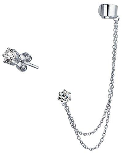 Plain Band Cartilage Ear Lobe Double Chain Ear Cuff Clip Wrap CZ Stud Helix Earring Set 925 Sterling Silver