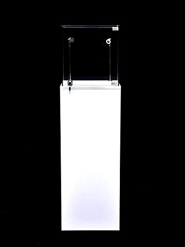 (SC-PED-W-L) Pedestal Exhibition Stand Display Case, for Retail, Jewelry Display, Museum, Collectible, Tempered Glass, White Finished with LED Light. Comes with Lock. Size: Large
