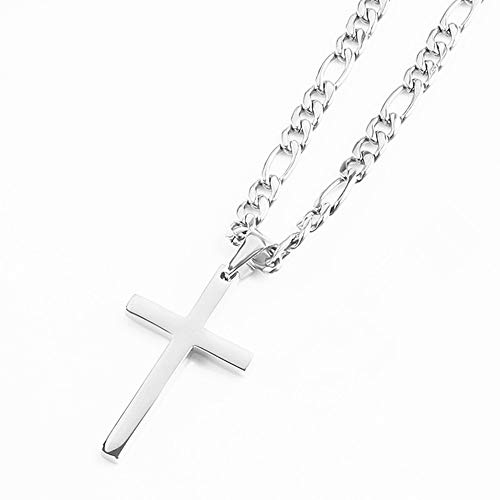 FZTN Jewelry White Gold Flat Figaro Chain Necklace with Cross Pendant for Men Boys 18 Inch 18K White Gold Plated Stainless Steel Fashion Jewelry