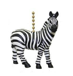 African Safari Plains Zebra Stripes Ceiling Fan Light Pull