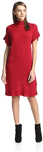 omen's Ribbed Funnel Neck Sweater Dress, Crimson, L (Cashmere Funnel Neck Sweater)