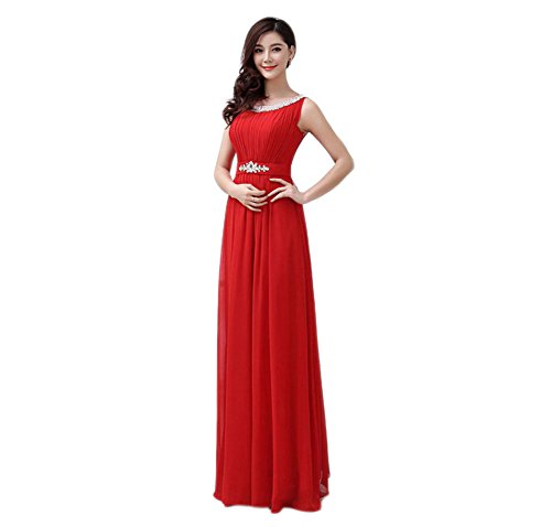 VogueZone009 Womens Bateau Neck Chiffon Formal Dresses with Sewing Beads, Red, 16 by VogueZone009