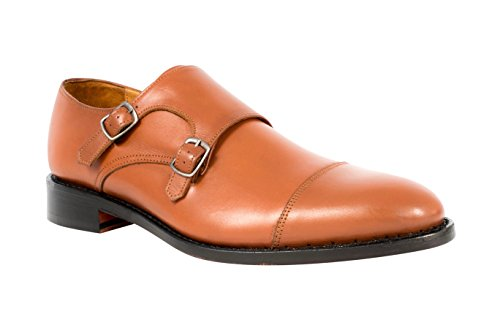 Anthony Veer Mens Roosevelt II Double Monk Strap Dress Shoes In Goodyear Welted Red Tan