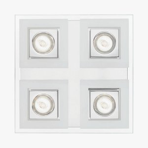 Eglo 92876A 4x35W Square Ceiling Light with Satin & Clear Glass, Chrome Finish Chrome 4 Lamp Spotlight
