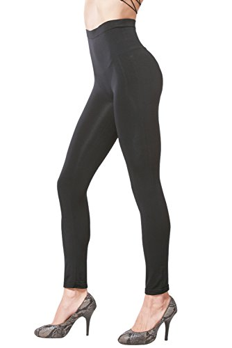 KHAYA Women's Seamless High Waist Slimming Compression Full Length Leggings Small Black