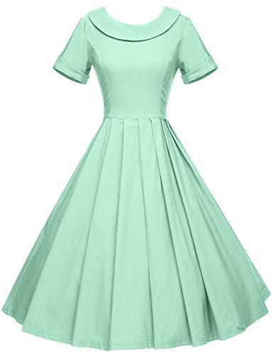 - GownTown Women's 1950s Polka Dot Vintage Dresses Audrey Hepburn Style Party Dresses Mint Green
