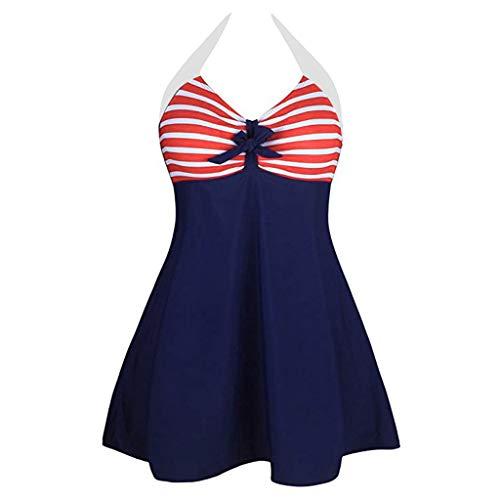 Sunhusing Women Striped Printed Bow Lace-Up Hanging Neck Backless One Piece Bikini Swimwear Bathing Suit Red -