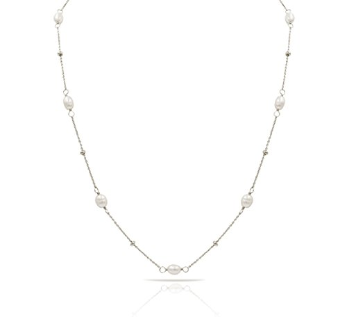 Sterling Silver Beads and Freshwater Cultured Pearl by the Yard Long Necklace, Rhodium Plated 925 Silver, Chain Length 36