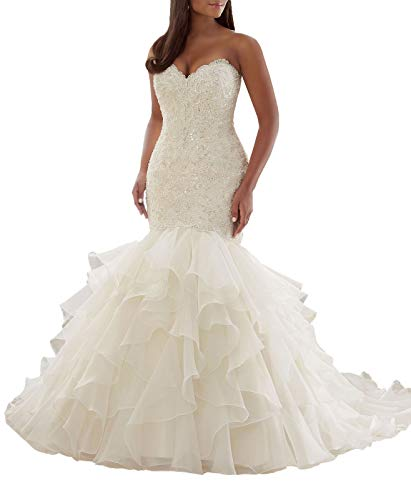 (Women's Stack-up Tulle Wedding Dress Princess White Fishtail Beading Wedding Dress for Brides with Crown Veil and Gloves)