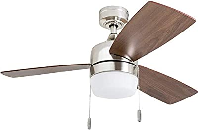 """Honeywell 50616-01 Barcadero Ceiling Fan 44"""" Compact Contemporary, Integrated LED Light, Chocolate Maple Blades, Brushed Nickel"""