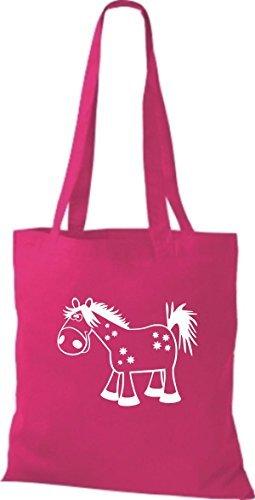 shirtstown Bolsa de tela Animales Caballo Pony fucsia
