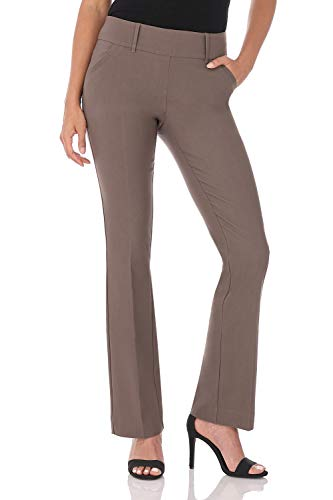 Classic Fit Pant Womens - Rekucci Women's Ease in to Comfort Fit Classic Bootcut Pant w/Tummy Control (18,Mocha)