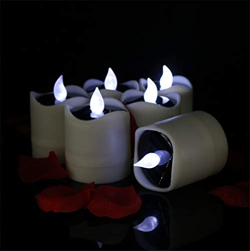 LUCKY CLOVER-CC Candle Light,Solar Powered Romantic Lights Flameless Warm White LED Tealight Festival Decoration Birthday Churches Parties Christmas Thanksgiving (6pcs)