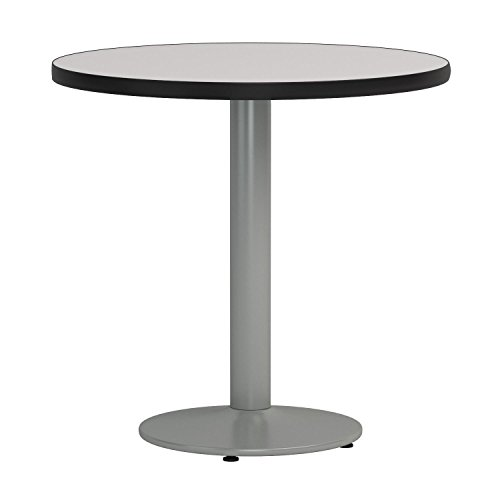 KFI Seating Round Pedestal Table with Round Silver Base, Commercial Grade, 30-Inch, Crisp Linen Laminate, Made in the USA by KFI Seating (Image #2)'