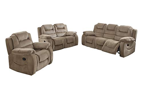 Sunset Trading Aspen 3 Piece Reclining Living Room Set, Champagne