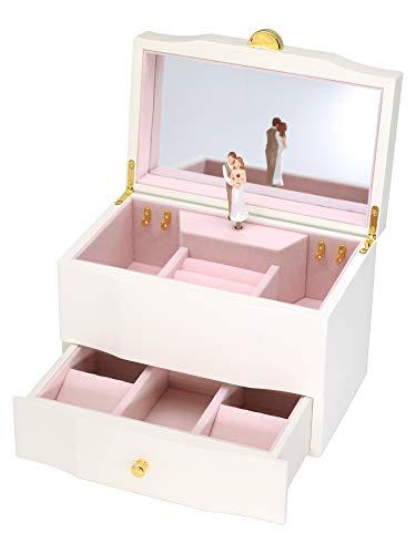 - Attii Wooden Musical Jewelry Box for Proposal Ideas, Wedding, Anniversary, La Vie en Rose Tune, White