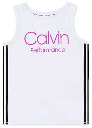 (Calvin Klein Big Girls' Performance Logo Tank Top, Stripe White, Medium (8/10))