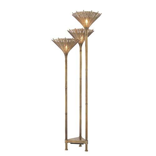 Triple Tiki Floor LAMP | EICHHOLTZ KON Tiki | Modern Gold Tropical Wire torchiere Lighting | Modern Luxury Lighting (Kontiki Furniture)