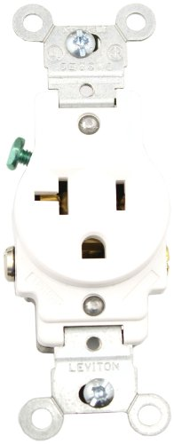 2-Pole Commercial Grade Single Receptacle, Straight Blade, White, Nema 5-20R, 125 Volts, 20 Amps
