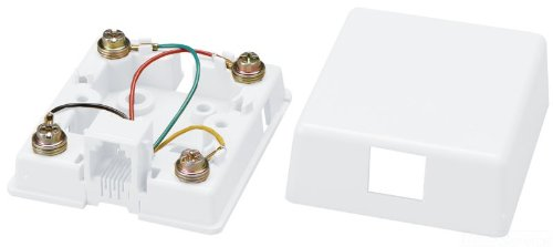 Outlet Modular - Allen Tel Products AT468-4-15 1 Port, Mounting Screw, Snap-On Cover, 6 Position, 4 Conductor Modular Surface Outlet Jack Screw Terminal, White