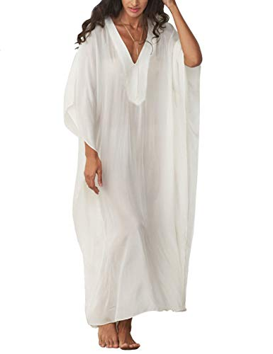 Women Long Maxi Cover Ups Swimwear Cotton Turkish V Neck Beach Poolside Attire White Caftan Loungewear (7219)