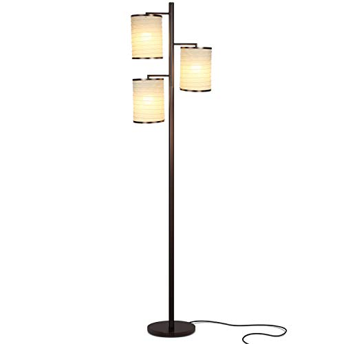 Brightech Liam - Asian Lantern Shade Tree LED Floor Lamp - Tall Free Standing Pole with 3 LED Light Bulbs - Contemporary Bright Reading Lamp for Living Room, Office - Bronze (1 Bulb Regency)