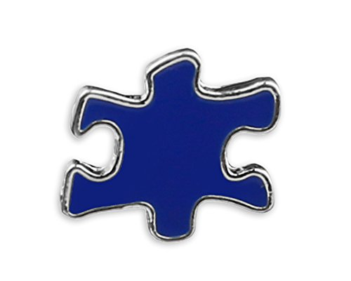 (Blue Puzzle Piece Autism Pins with Tac Backing In a Bag (1 Pins -)