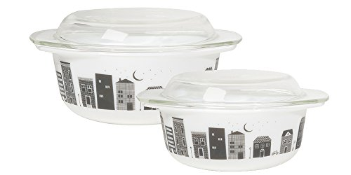 Now Designs Mod Glass Retro Glass Bakeware (Set of 2), Hometown Vintage Oven