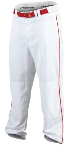 Rawlings Men's Baseball Pant (White/Scarlet, Large)