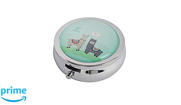 Amazon.com: Halulu White Lama Couple of Cute Animals Llama Custom Fashion Round Glass Pill Case 2.1 Inch Tablet Holder Storage Bag Wallet: Home & Kitchen