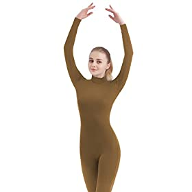- 31g97 2BTDYBL - Unisex Turtleneck Footed/Footless Long Sleeve Lycra Spandex Unitard