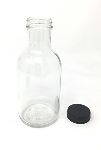 12 oz Stout Glass Jar with Black Plastic lid 12-pack by Pack