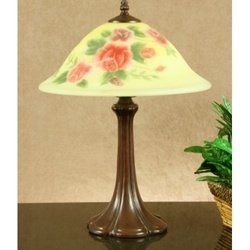 Legacy Lighting 1381TL-13G Glowing Rose Reverse Hand Painted Floral Table Lamp- Deep Rich Bronze