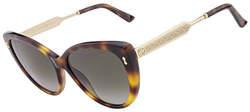 Gucci Women's Sunglasses GG3804 CRX Dark Havana Gold/Brown Gradient Lens Cat Eye 57mm