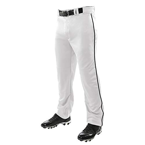 CHAMPRO Unisex Sports Youth Triple Crown Open Bottom Piped Pants, White, Black, Medium