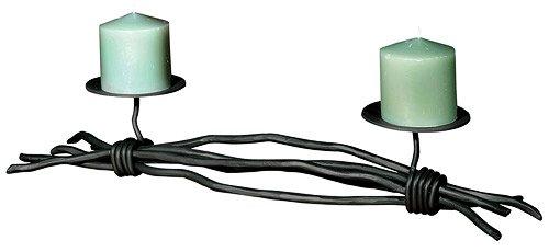 Stone County Iron Works Pewter Candle Holder (Stone County Ironworks Rush Renaissance Double Candleholder, Hand Rubbed Pewter 205798-OG-142828-O-759623, Hand Rubbed Pewter 205798-OG-142828-O-759623 O)