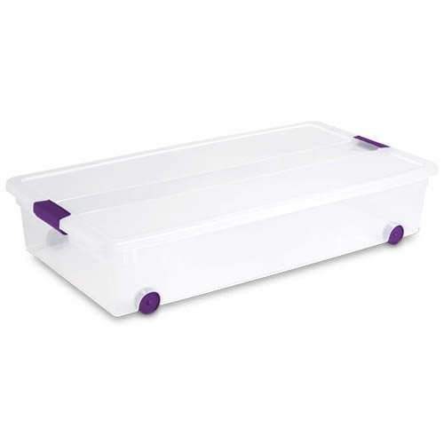 Sterilite 60 Quart ClearView Latch Wheeled Underbed Box w...