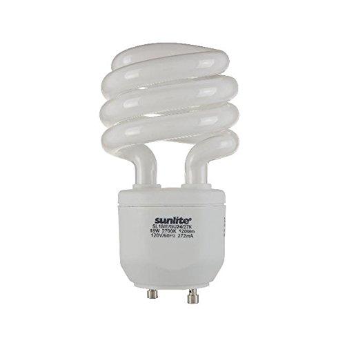 Sunlite SL18/E/GU24/27K 18 Watt Spiral Energy Star Certified CFL Light Bulb GU24 Base Warm White ()