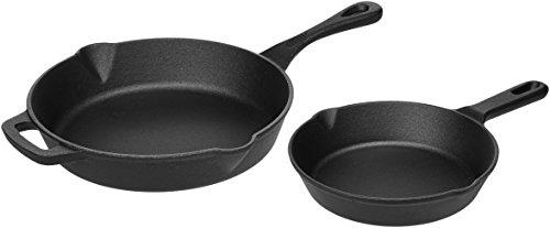 Amazon Basics Pre-Seasoned Cast Iron 5-Piece Kitchen Cookware Set, Pots and Pans