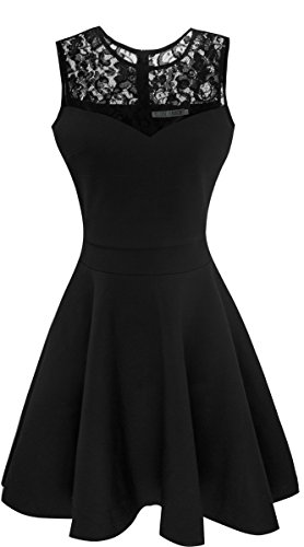 Heloise Women's A-Line Sleeveless Pleated Little Black Cocktail Party Dress With Floral Lace (L, Black)