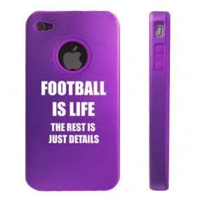 Apple iPhone 4 4S Purple D4469 Aluminum & Silicone Case Cover Football is Life