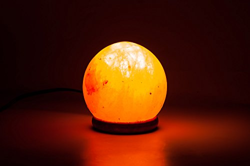 [Hand Crafted] HemingWeigh Himalayan Rock Salt Sphere Lamp with Wood Base, Electric Wire 14-15 CM
