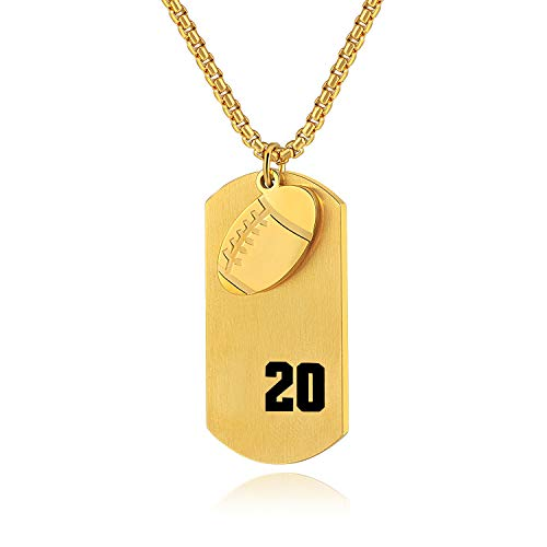Football Dog Tag Necklace Player Number 20 Pendant,Inspirational Necklaces for Boys Teen,I Can Do All Things Jewelry (Gold)