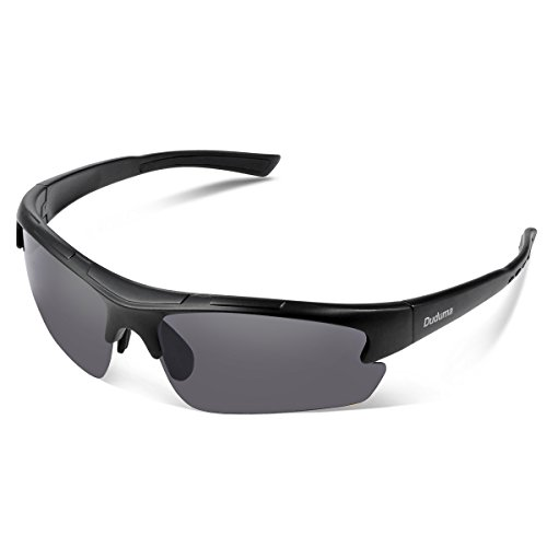 Duduma Polarized Designer Fashion Sports Sunglasses for Baseball Cycling Fishing Golf Tr62 Superlight Frame ((black matte frame with black lens) (Sunglasses Sport)