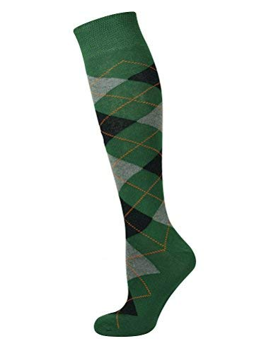 Mysocks Unisex Knee High Long Socks Argyle Green Ash Black Orange]()